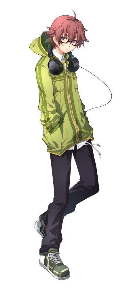Anime Guy Reddish Brown Hair Purple Eyes Glasses Green