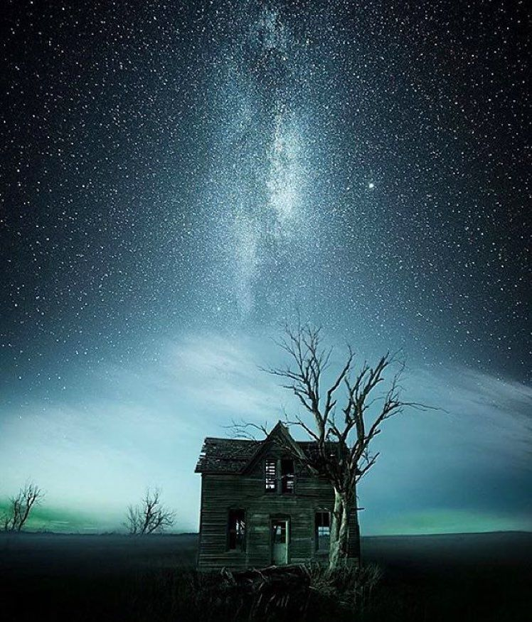 Abandoned House Under The Stars In Marquette Kansas. Photo