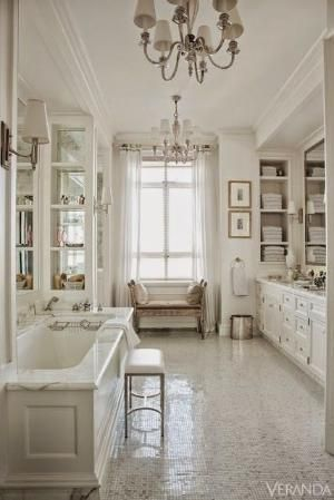 Beautiful Room Traditional Style White Master Bathroom Glass Tile Floor By Holly White Rooms Bathroom Inspiration Apartment Design