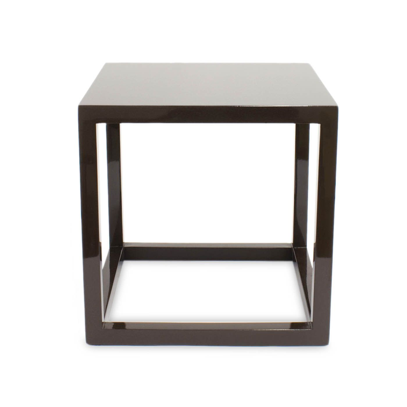 Online warehouse sale chocolate lacquer cube side tables