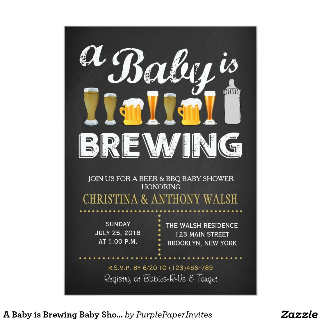 A Baby is Brewing Baby Shower Chalk BBQ Invitation | baby shower ...