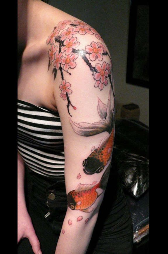 21 Awesome Koi Fish Tattoo Designs Ideas: Koi Fish Tattoo With Cherry Blossom Tree