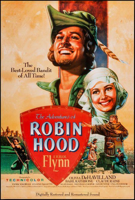 "The Adventures of Robin Hood (Warner Brothers, R-1989). One Sheet (27"" X 40""). Swashbuckler."