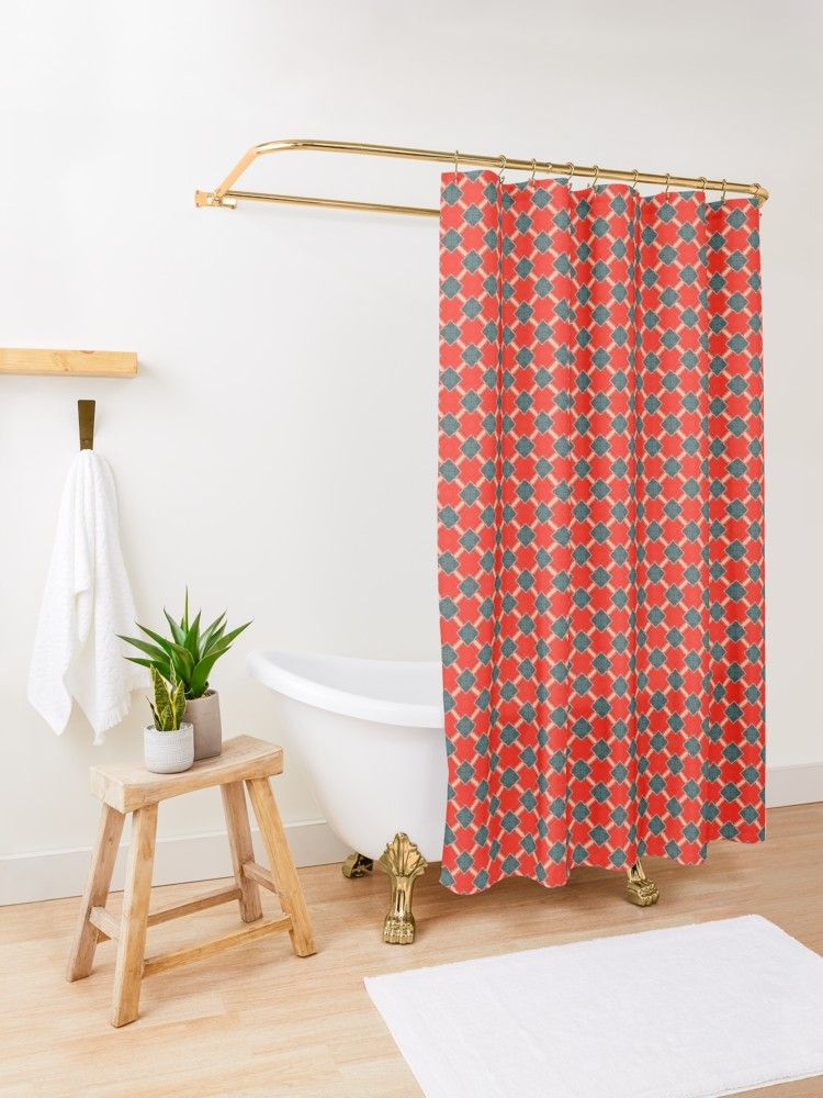 Red Blue Ii And Light Peach Shower Curtain By Blertadk