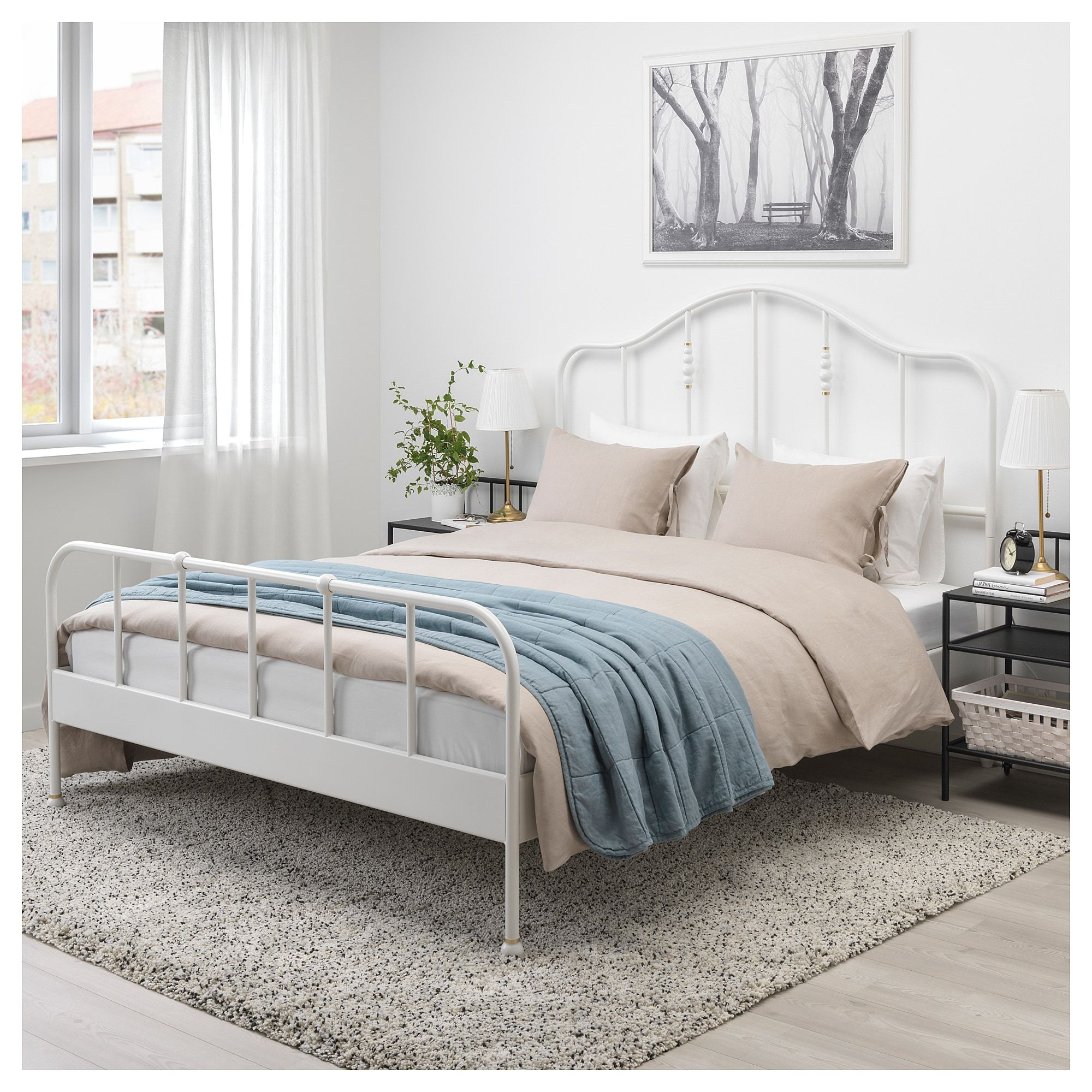 Sagstua Bed Frame White Luroy Queen With Images Bed Frame