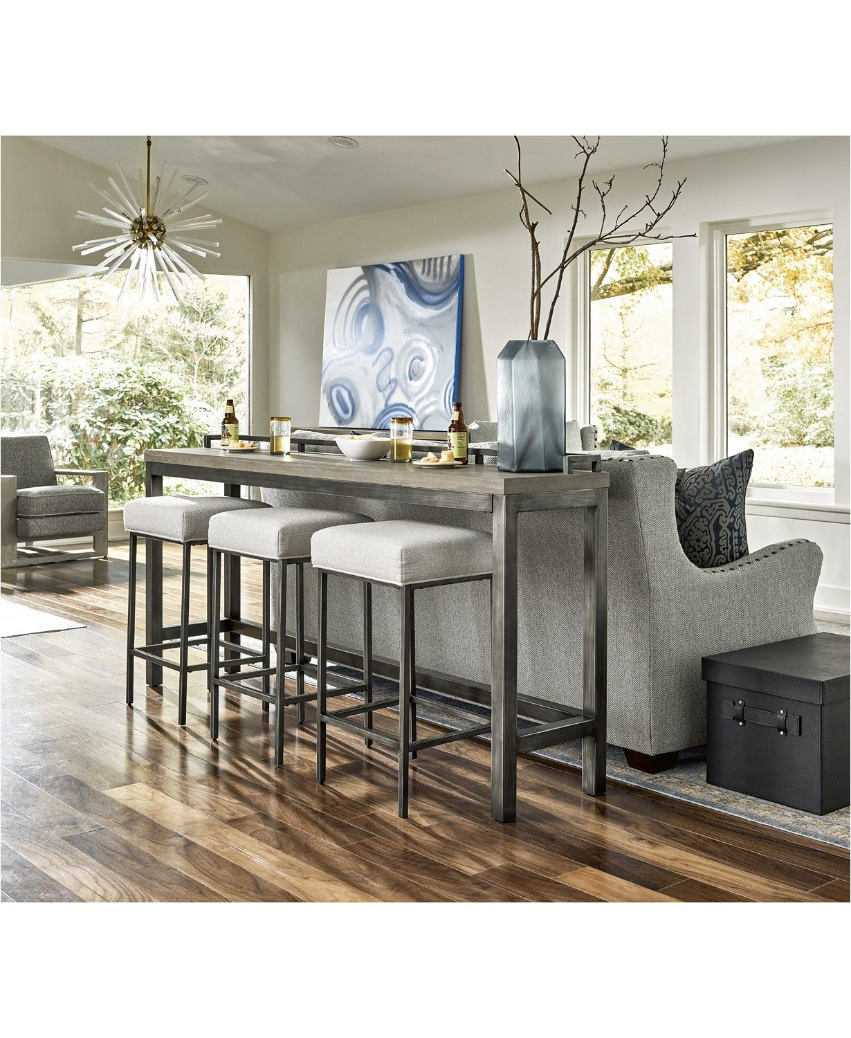 Furniture Channing 4 Pc Table Set Console Table 3 Stools
