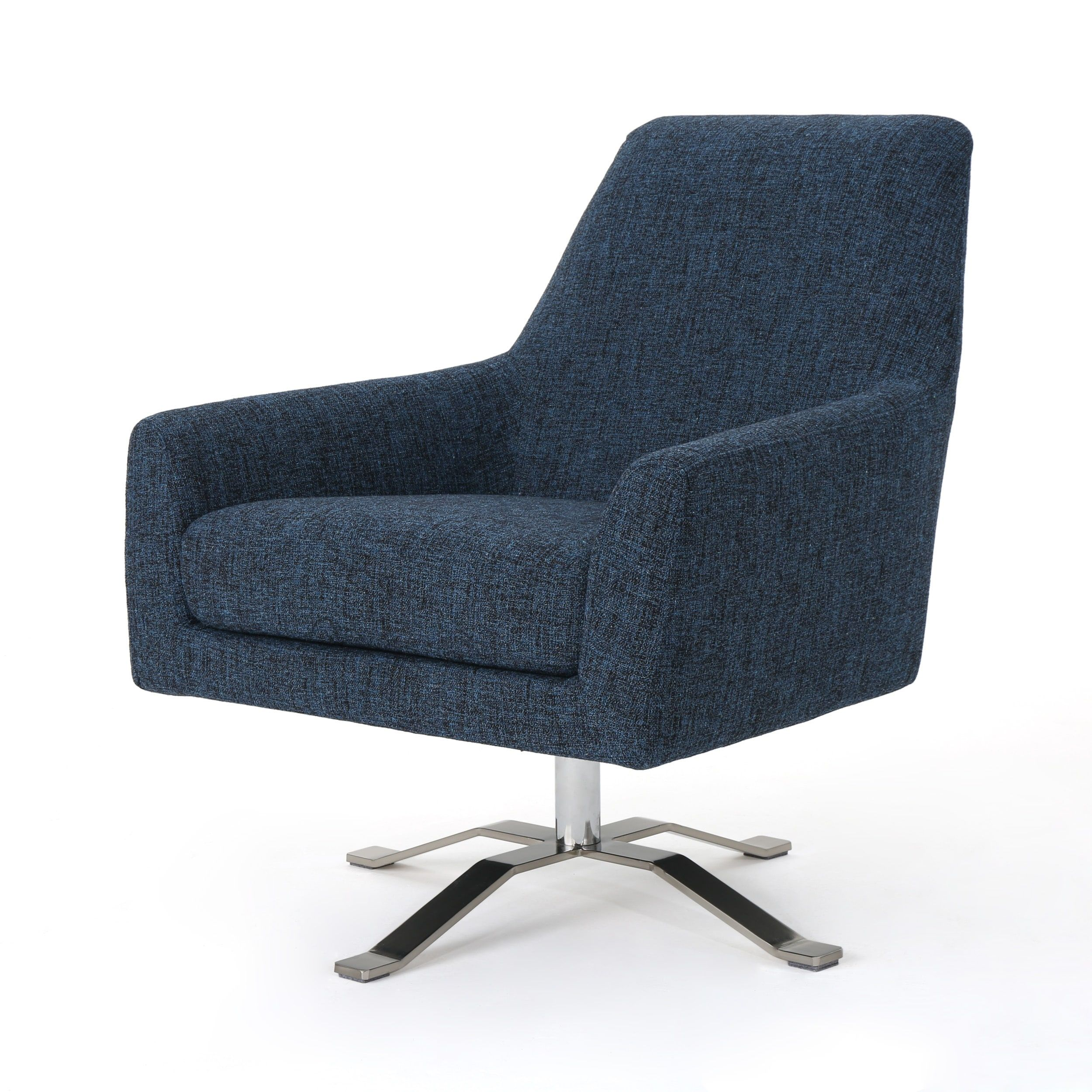Jacey Indigo Swivel Accent Chair: Ailis Modern Fabric Swivel Club Chair By Christopher