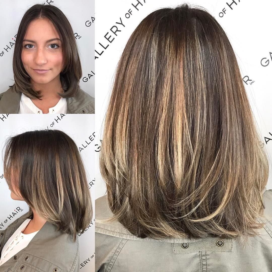 Brunette Layered Blowout Bob With Face Framing Layers And Color Melt Balayage The Latest Hairstyles For Men And Women 2020 Hairstyleology Balayage Straight Hair Thick Hair Styles Medium Brunette Hair