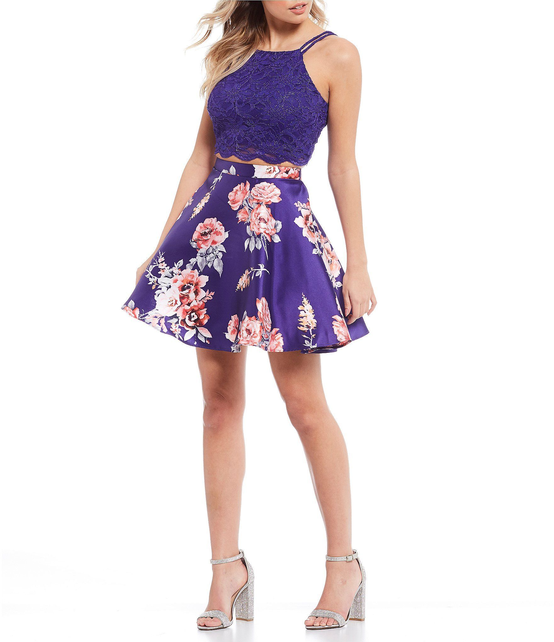 City Vibe Spaghetti Strap Lace Top With Floral Skirt Two Piece Dress Two Piece Dress Cute Homecoming Dresses Cute Dresses For Teens [ 2040 x 1760 Pixel ]