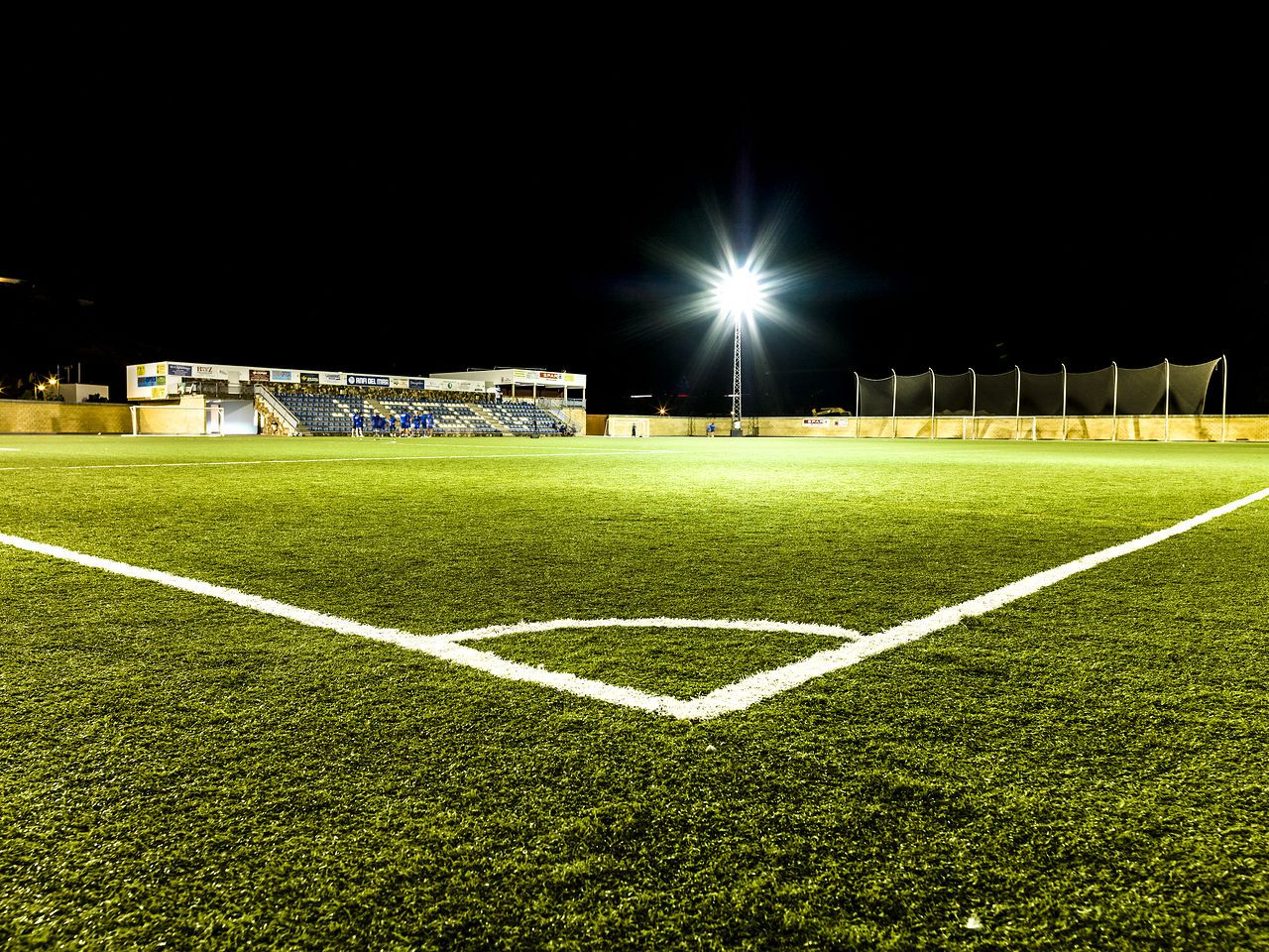 A Football Pitch With Spotlights Football Pitch Football Field