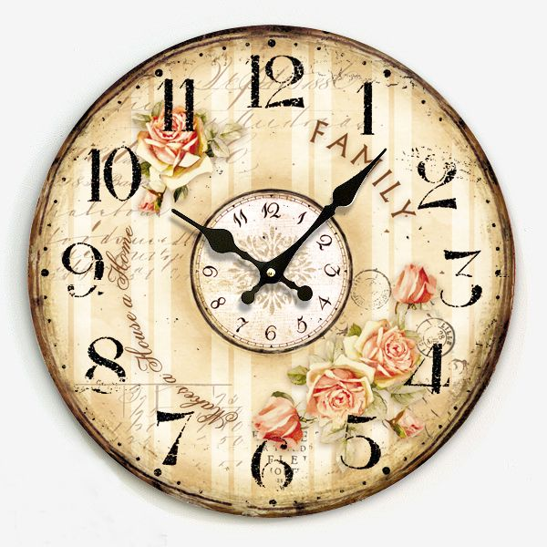 Free Shipping Vintage Country Style Interior Wood Wall Clock Single Face Round Watch For