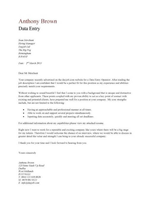Cover Letter Example for Data Entry reviwings for new products