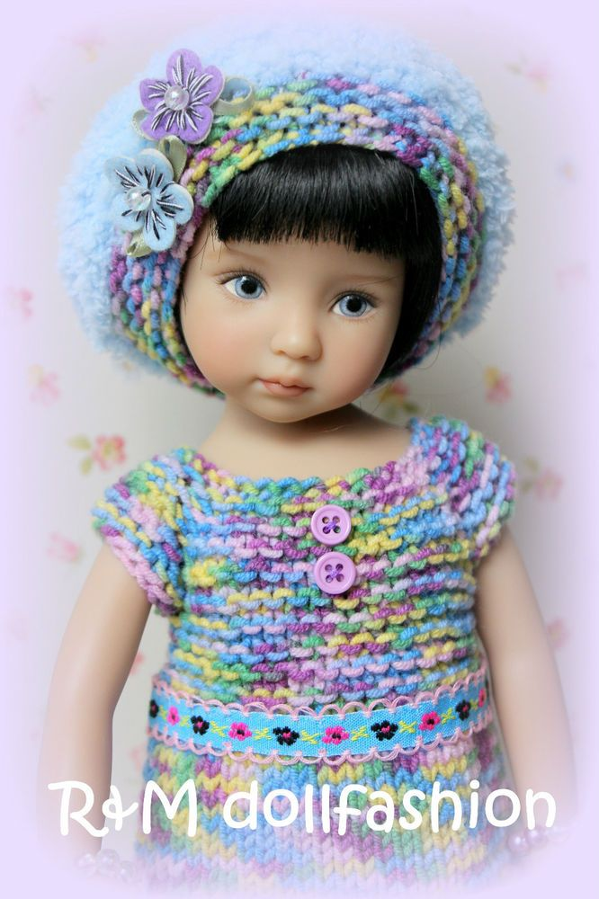 "R&M DOLLFASHION - BRIGHT LINE handknit set for Effner 13"" Betsy McCall 14"" doll"