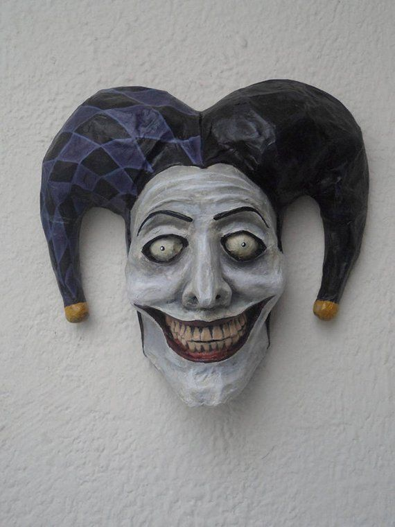 Joker Mask Harlequin Jester Paper Mache Horror Art Dark
