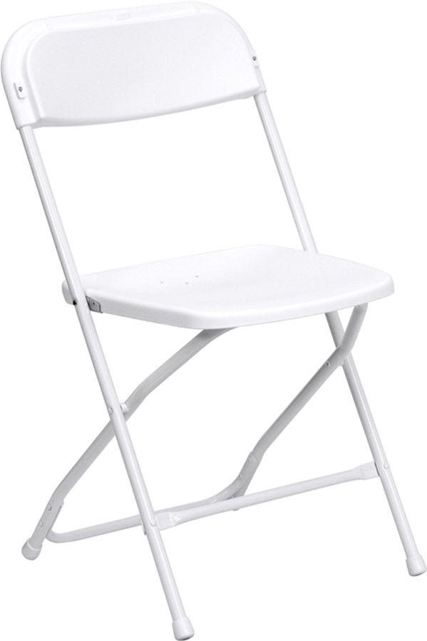 Bon Hercules Series White Metal Plastic Premium Folding Chair