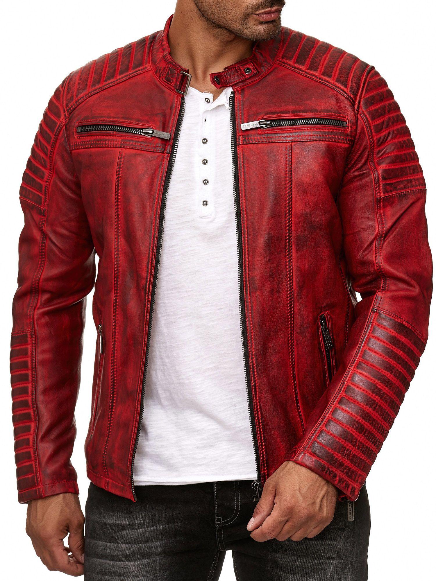 53b47773b34cd0 Redbridge Herren Lederjacke Echtleder Übergangsjacke Bikerjacke Motorrad-  Jacke #lederjacke #red #rot #