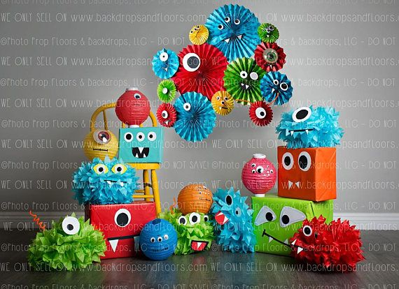 Colorful Monsters Themed Photography Backdrop, Birthday Party, Cake Smash, Paper,