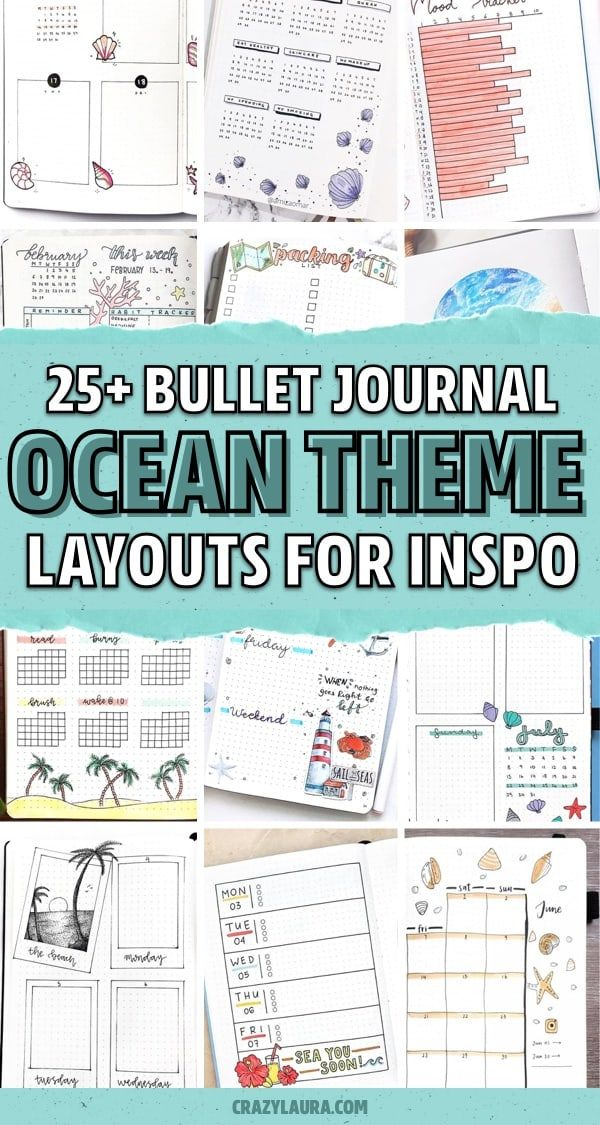 25+ Best Ocean & Beach Themed Bullet Journal Spreads - Crazy Laura