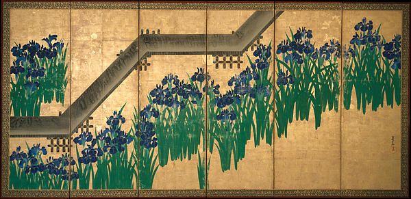 Irises At Yatsuhashi. Eight Bridges  Ogata Korin