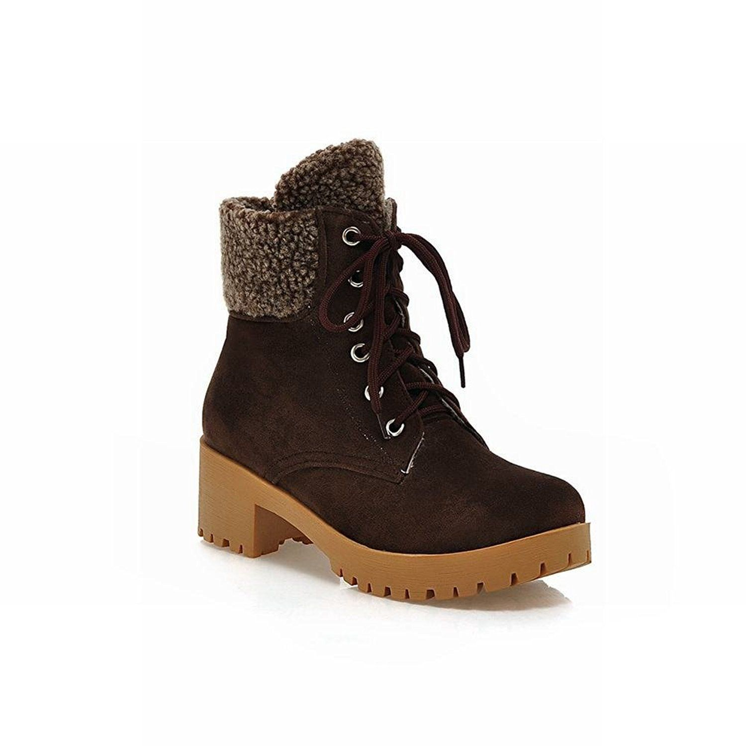 bd7e6f2abee Latasa Women's Fashion Ankle-high Low-heel Chunky Lace-up Snow Boots ...