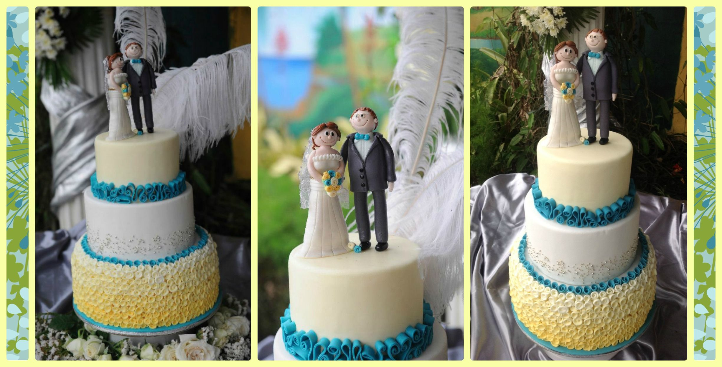 Turquoise & Yellow wedding cake