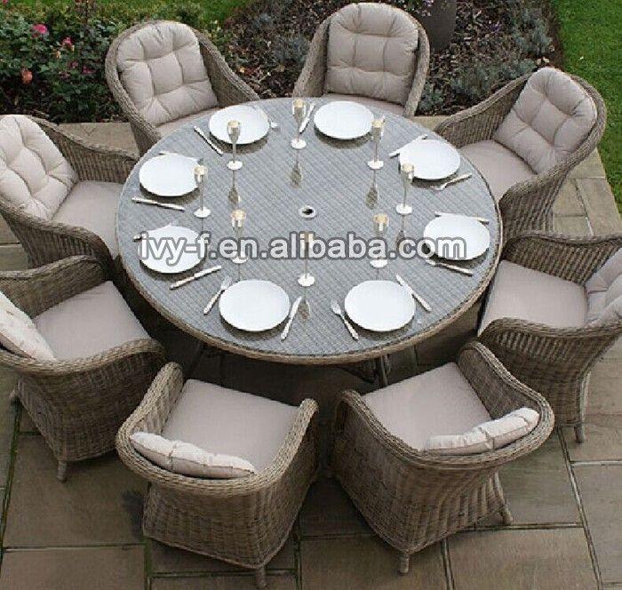 Jardín juego de comedor pe rattan sillas y reposteria 8-seating ...