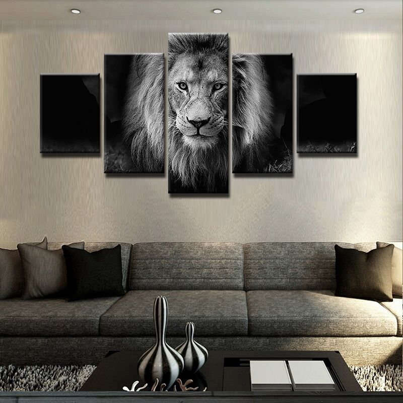 best price 5 panel animal lion modern frames for paintings canvas ...