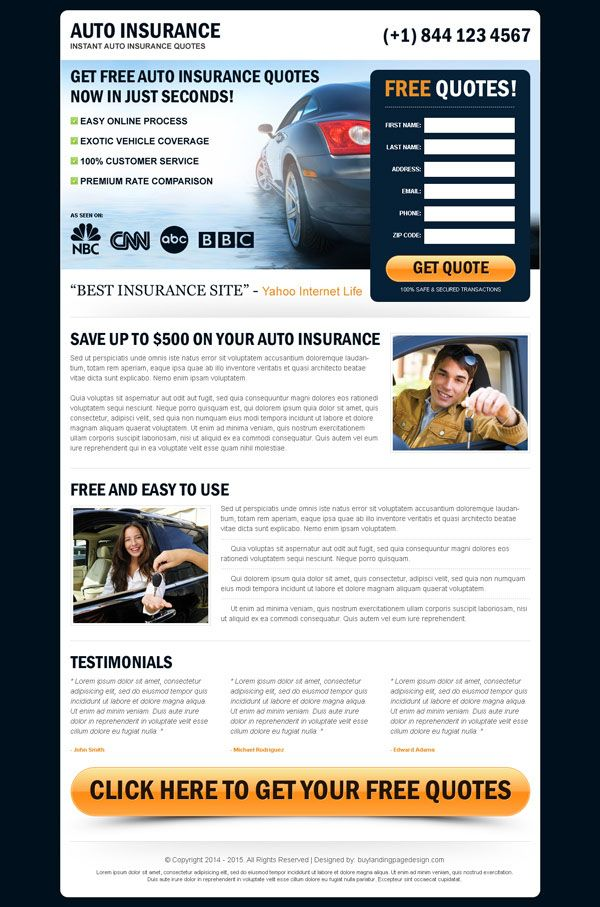 Free Auto Quote Get Auto Insurance Landing Page Design Templates That Delivers
