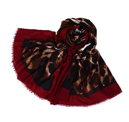 COMVIP Femme Écharpe Imprimé Léopard Vogue Accessoire Châle Doux Rouge 04104dc8a62