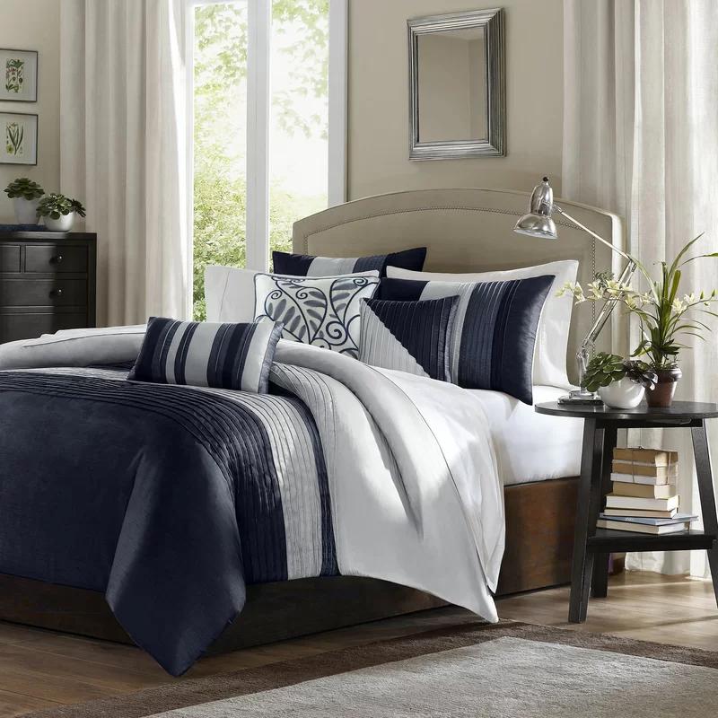 Liesel Reversible Striped 6 Piece Duvet Cover Set Comforter Sets Navy Comforter Sets Bed Comforter Sets