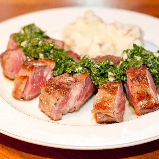 A quick and easy chimichurri, the perfect topping for a sirloin steak.
