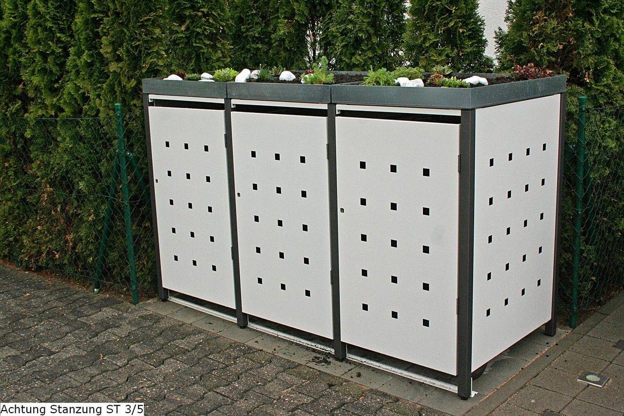 3er mülltonnenbox 240l mit pflanzdach | gartenideen | pinterest