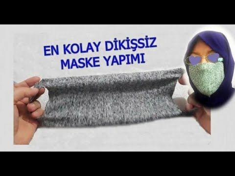 Tişört'en Kolay pratik dikiş'siz �MASKE yapımı Face Mask geri dönüşüm kendi maskeni kendin yap