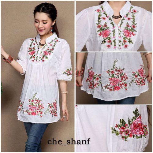 Venta caliente Vintage 70 s mujeres étnico florales bordados Boho Hippie  mexicana campesino blusa blanca Chic d3195e5ee5f48