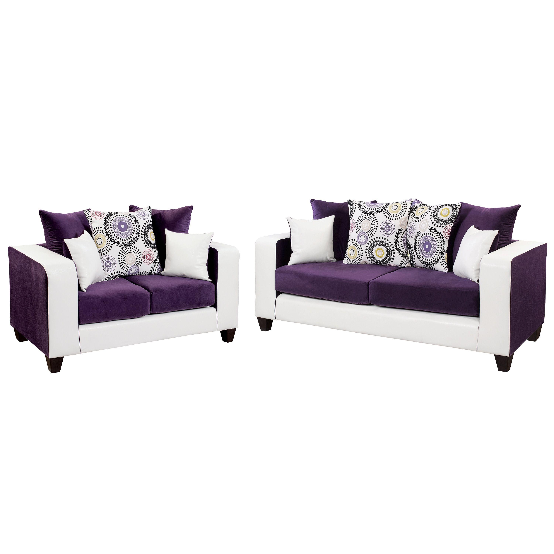 Riverstone Velvet Living Room Set Purple White Lancaster Home