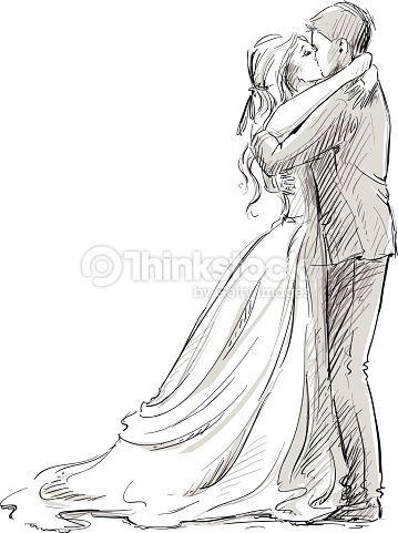 Vector Art Wedding Kiss Newlywed Sketch Weddings Pinterest Drawings Sketches And