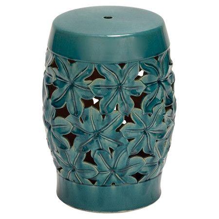 Indoor/outdoor Ceramic Garden Stool With An Openwork Floral Design.  Product: Stool Construction