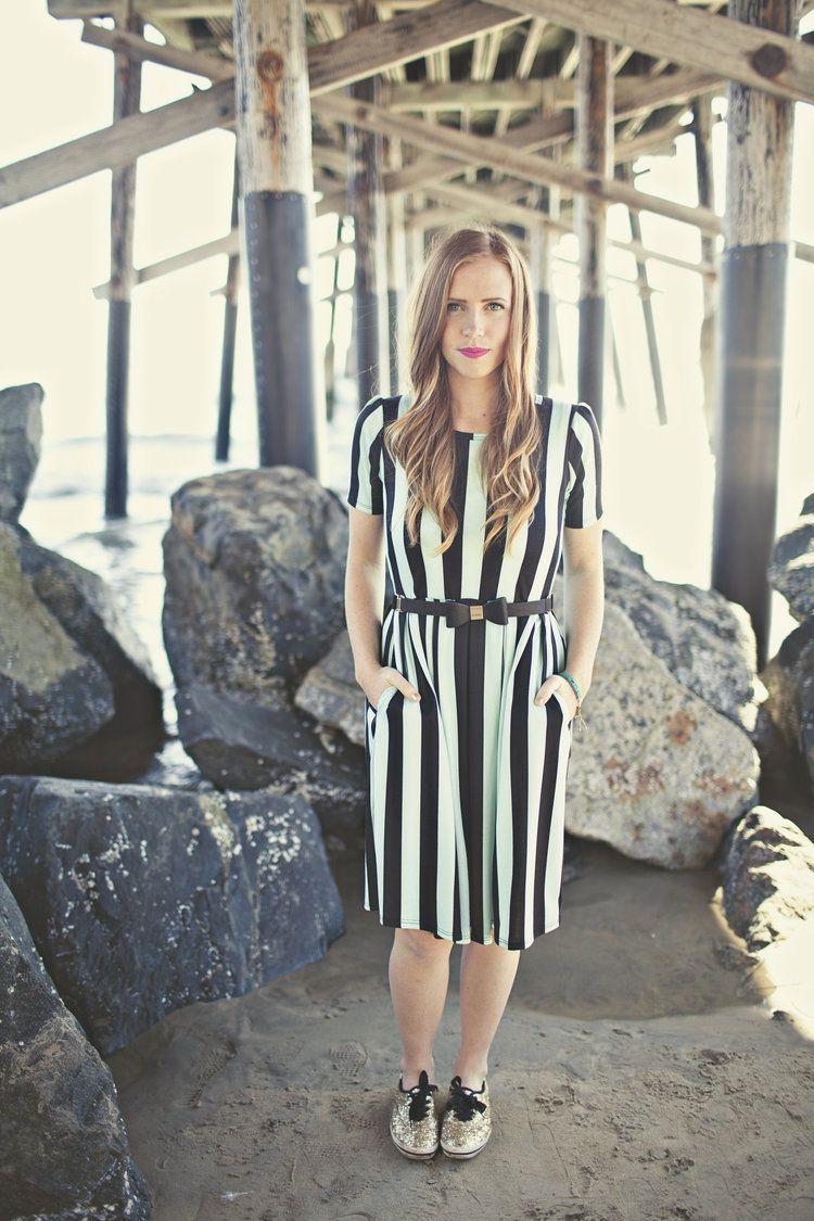 mint black vertical stripe amelia dress - lularoe | Clothes ...