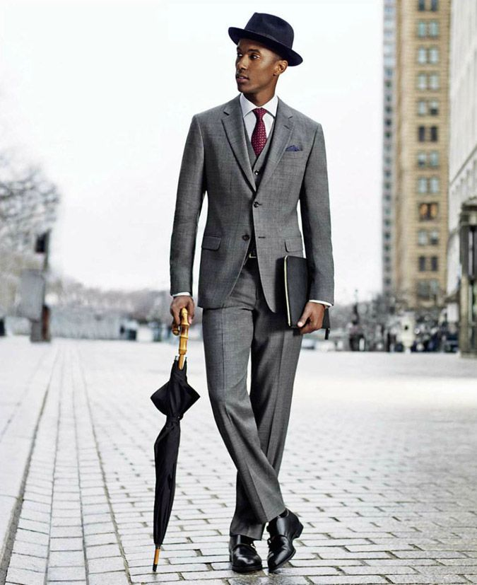 ac51644ba09 Great bowler hat with formal grey suit.