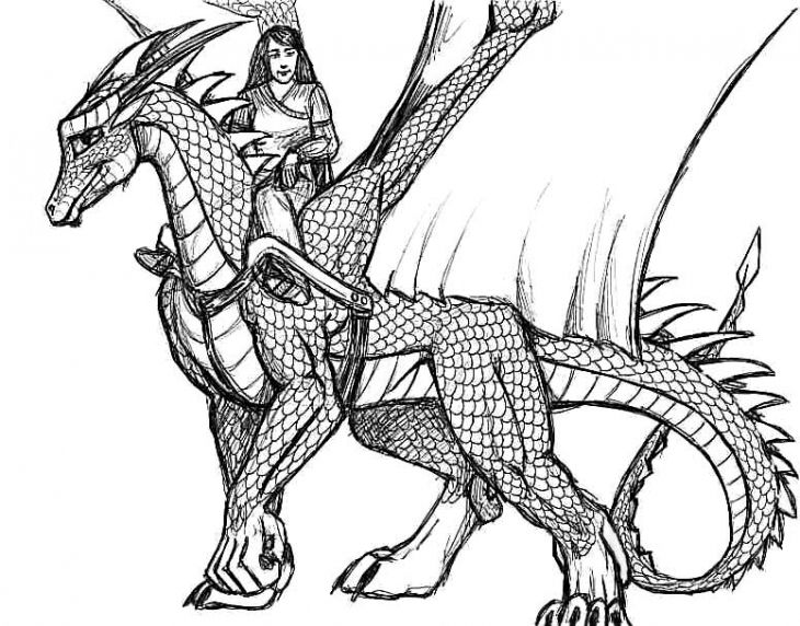 Realistic Dragon Sketch Free Printable Coloring Page For Adults