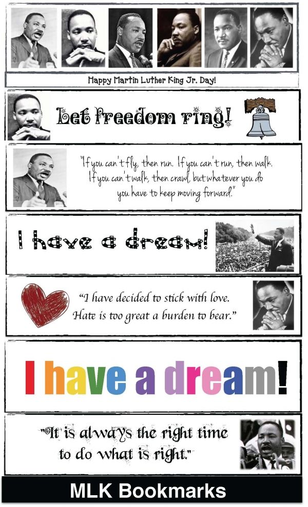 Martin Luther King Bookmarks Education Pinterest Martin Luther
