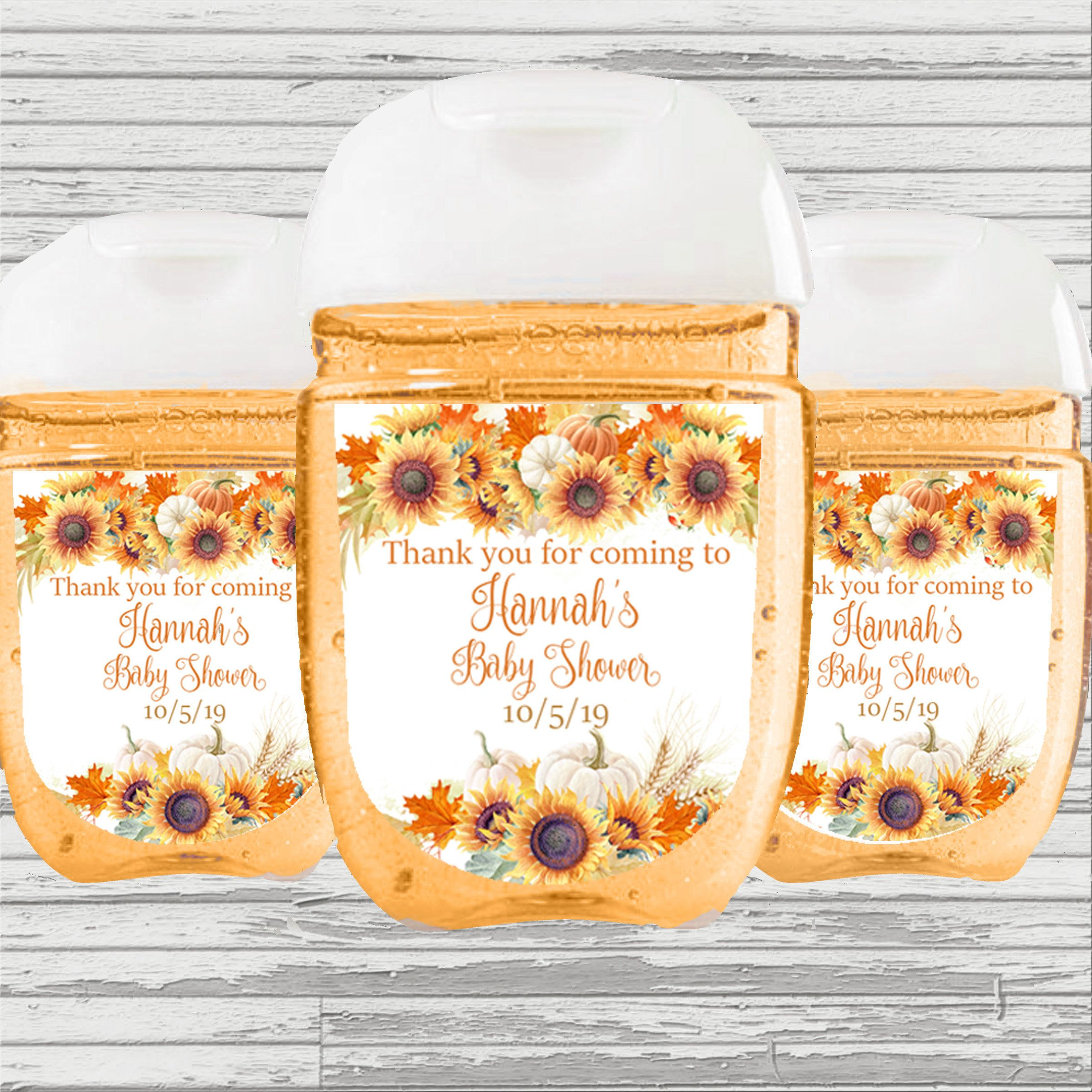 Fall Flowers Pumpkin Sunflower Theme Bridal Baby Shower Favor