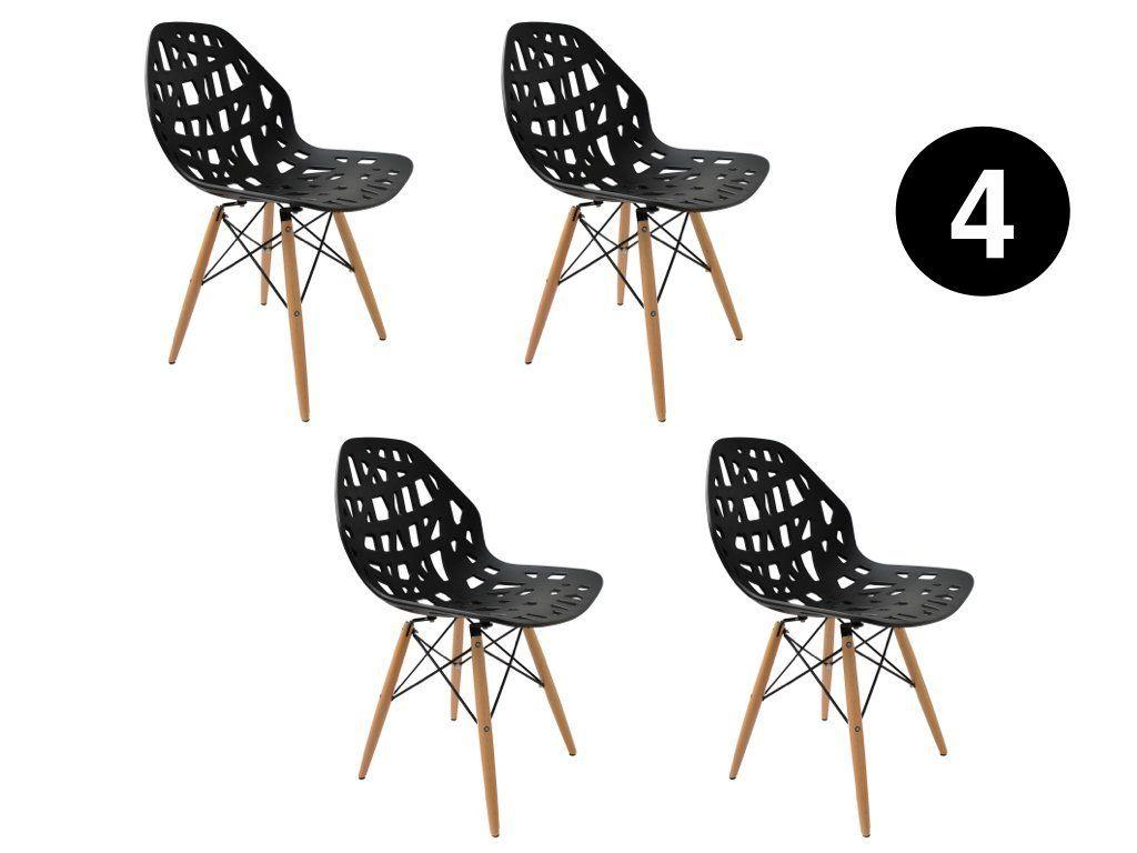 Lot 4 Chaises Madrid Noir Scandinave Ibh Design Amazon Fr Cuisine Maison Chaise De Salle A Manger Chaise Salle A Manger Chaise
