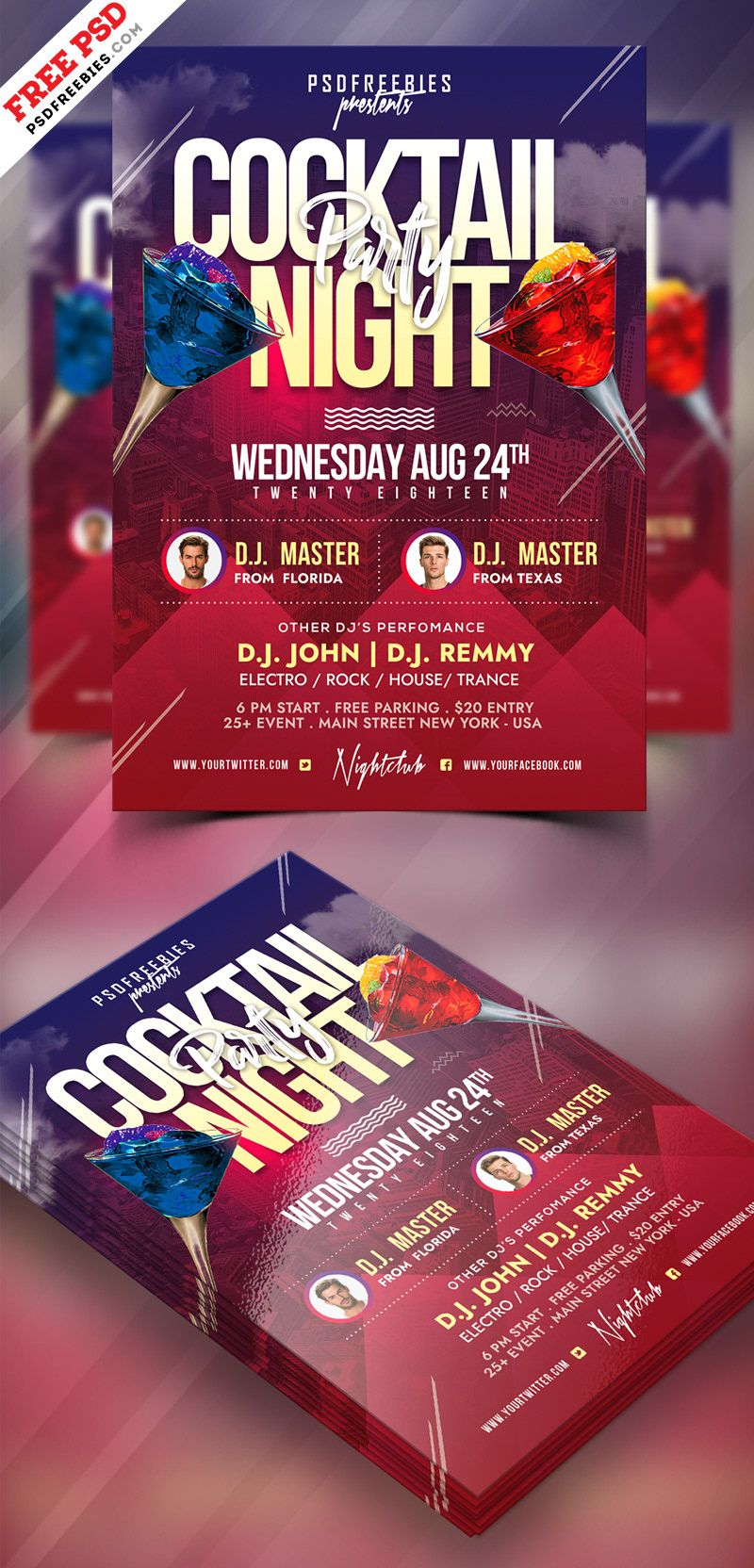 Cocktail Party Flyer PSD Template on Behance Party flyer