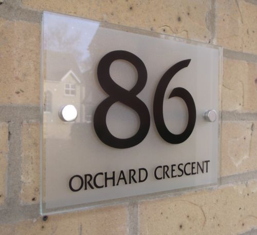 House Number Sign Plaque Modern Frosted Glass Effect Ebay Door