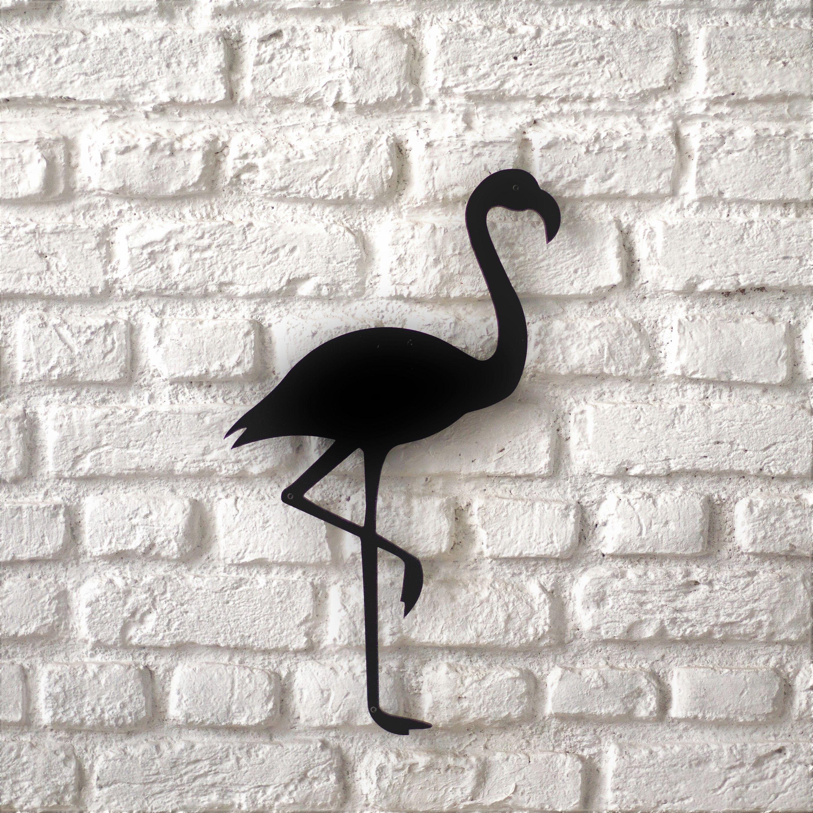 Flamingo Silhouette Metal Decor Monochromatic Art Sheet Metal Fabrication