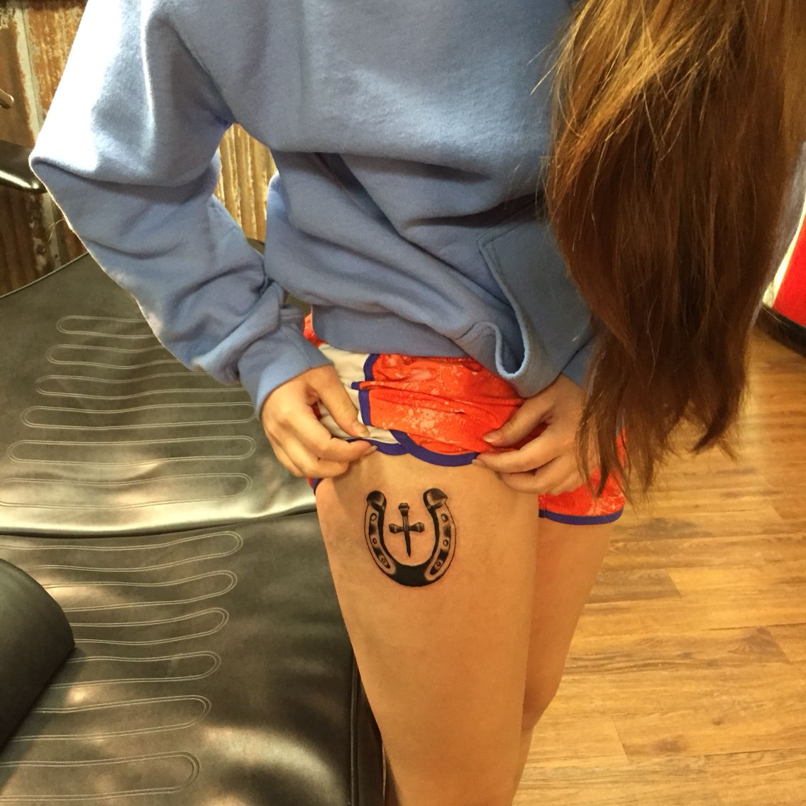 My tattoo! Horseshoe plus horseshoe nail cross