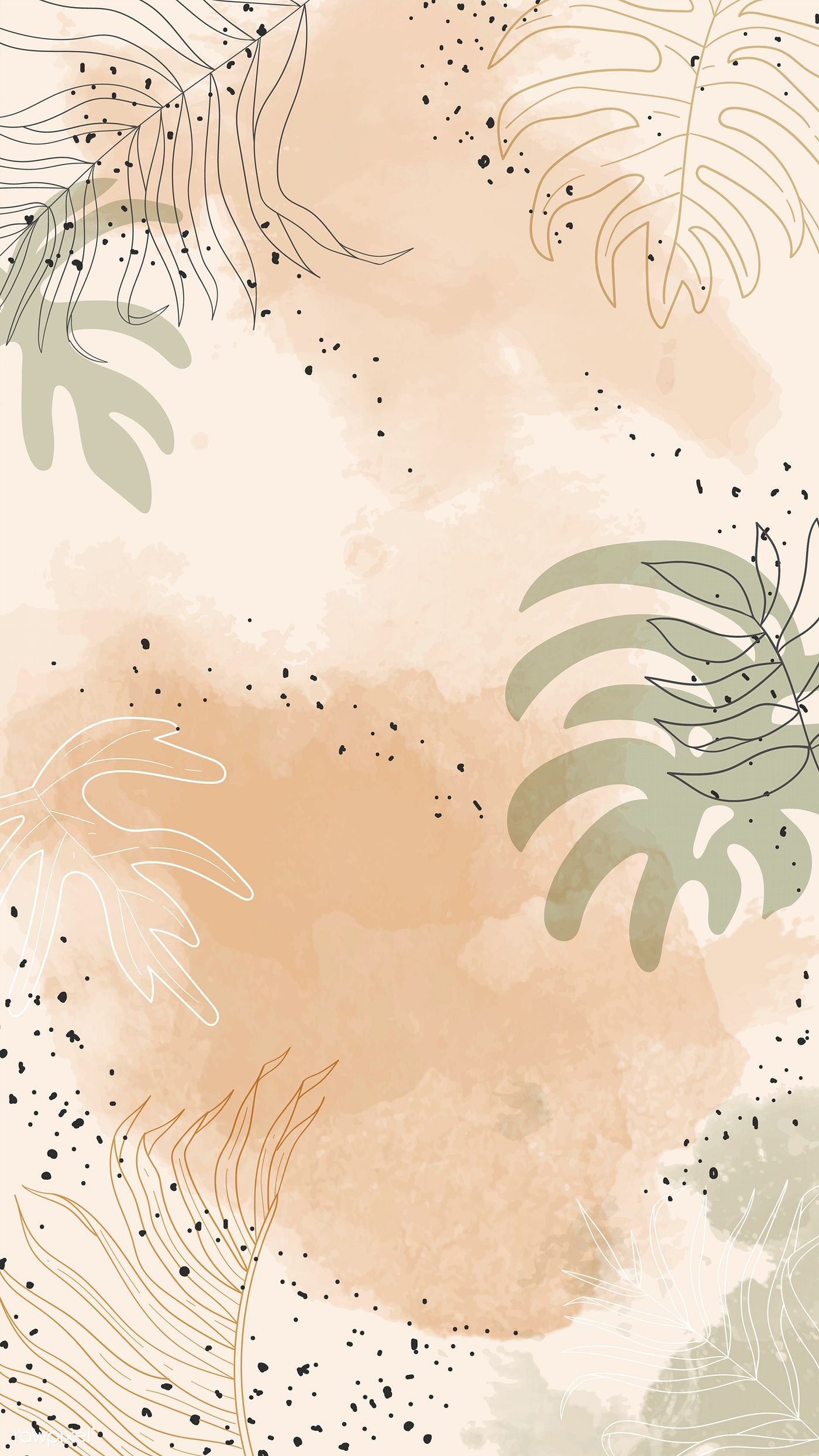 Beige Leafy Watercolor Mobile Phone Wallpaper Vector Premium Image By Rawpixel Com Aum Watercolor Wallpaper Iphone Painting Wallpaper Watercolor Wallpaper