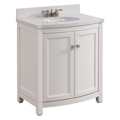 Shop Allen Roth 31 In Single Sink Alabaster Bathroom Vanity With