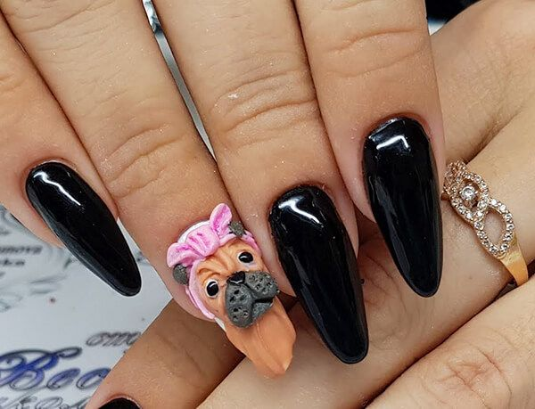 Собака на ногтях лепка   Ногти, Картинки, Дизайн ногтей